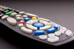 Macro of a digital cable TV remote. Macro close-up of a digital cable TV remote royalty free stock photos