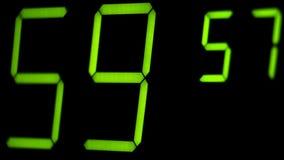 Macro digital watch counter timer. Green digit. stock video footage