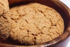 Macro do close up das cookies de farinha de aveia Imagens de Stock Royalty Free