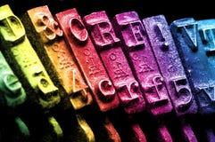 Macro do detalhe da máquina de escrever do arco-íris Fotografia de Stock