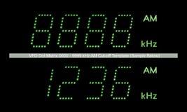 Macro do indicador do rádio do AM da matriz de ponto de VFD no verde Fotos de Stock