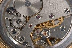 Macro do mecanismo do relógio fotos de stock
