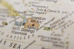 Macro do Republicon dominiquense um globo Fotografia de Stock Royalty Free
