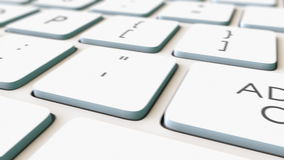 Macro dolly shot of white computer keyboard and add to cart key, shallow focus. Conceptual 4K clip stock footage