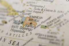 Macro of the Dominican Republicon a globe. Macro of the Dominican Republic on a globe, narrow depth of field Royalty Free Stock Photography