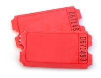 Macro dos bilhetes vermelhos isolados Imagem de Stock