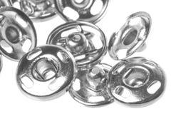 Macro dos botões de pressão isolado fotos de stock