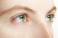 Macro dos olhos verdes da mulher, conceito da visão Fotos de Stock Royalty Free