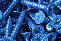 Macro dos parafusos de aço pequenos, com um tom frio Fotos de Stock Royalty Free
