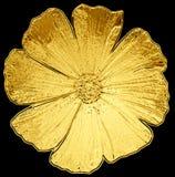 Macro dourado surreal da dália da flor do cromo do metal isolado foto de stock royalty free