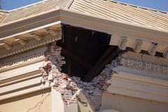 Macro earthquake damage Justice Building Stock Image