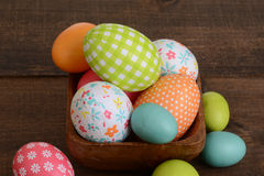 Macro easter eggs in a bowl Royalty Free Stock Photo