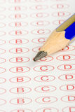 Macro Education test form. Test Form education macro pencil Royalty Free Stock Images