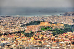 Macro effect: the Acropolis of Athens from Mount Lycabettus Stock Photo