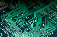 Macro of electronic circuit board pcb in green Stock Photos