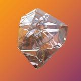 Macro en cristal coloré étonnant de plan rapproché de groupe de Diamond Quartz Rainbow Flame Blue Aqua Aura sur le fond orange vi Image libre de droits