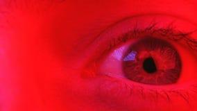 Macro en el ojo del hombre que expresa la expresión chocada de la sorpresa y del miedo almacen de metraje de vídeo