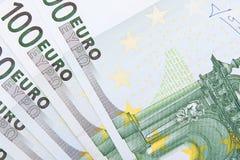 Macro euro achtergrond Stock Afbeeldingen