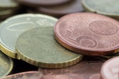 Macro of euro cents coins. Coins of fifty euro cents, twenty euro cents royalty free stock image