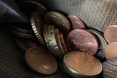 Macro Of Euro Coins In A Wallet stock images