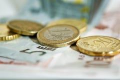 Macro euro d'argent Photographie stock libre de droits