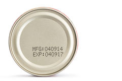 Macro expiration date on canned food Royalty Free Stock Photography