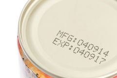 Macro expiration date on canned food Royalty Free Stock Images