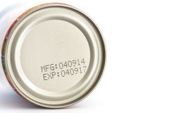 Macro expiration date on canned food Royalty Free Stock Photo