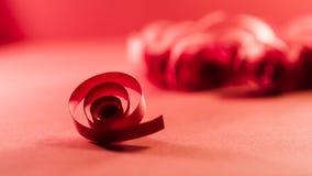 Macro, extracto, imagen del fondo de espirales de papel rojos Fotografía de archivo libre de regalías