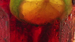 Macro extreme close up of a slice of lime resting amongst bubbles in a cola-c stock video footage