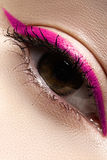 Macro eye with fashion bright eyeliner make-up Stock Images