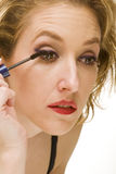 Macro eye lashes makeup. Close up portrait of blond woman Royalty Free Stock Photo