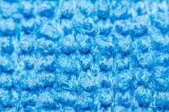 Macro of fabric weave texture surface. Blue color use for background Royalty Free Stock Photography