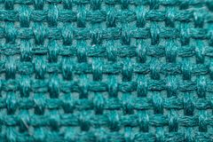 Macro of fabric weave texture surface. Blue or indigo blue color use for background Royalty Free Stock Photos