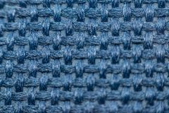 Macro of fabric weave texture surface. Blue or indigo blue color use for background Royalty Free Stock Photography