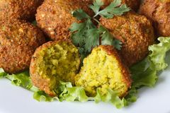 Macro falafel with lettuce and cilantro Stock Images