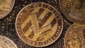 Macro Falling Sparkles on Model Made As Global Payment Network. Macro falling sparkles on real model made as litecoin global payment network with full stock footage