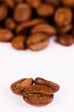 Macro-feche-acima de três feijões de café Imagem de Stock Royalty Free