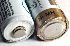 Macro a few old used batteries.  Royalty Free Stock Photo