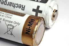 Macro a few old used batteries.  Royalty Free Stock Images