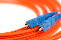 Macro Fiber optic patchcord SC Royalty Free Stock Images