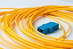 Macro Fiber optic patchcord on white background Stock Image