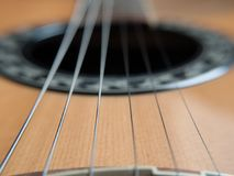 Macro ficelles de guitare Photos stock