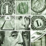 Macro fijada de dólares de los E.E.U.U. Imagen de archivo