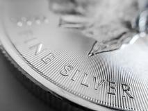 Macro fin d'une pièce de monnaie canadienne 999% argentée de lingot de feuille d'érable photos libres de droits