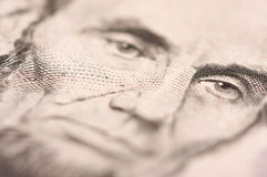 Macro of Five Dollar Bill's Lincoln Stock Photo