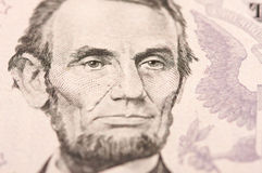 Macro of Five Dollar Bill's Lincoln Royalty Free Stock Photos