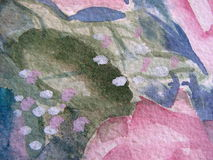 Macro floral watercolor. Macro photo of abstract floral watercolor painting Stock Photos