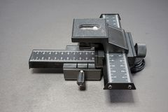 Macro focusing rail. Of slider for fine tuning macro photography royalty free stock images