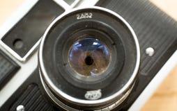 Macro foto della lente manuale per la retro macchina fotografica con l'apertura dell'iride Fotografia Stock Libera da Diritti